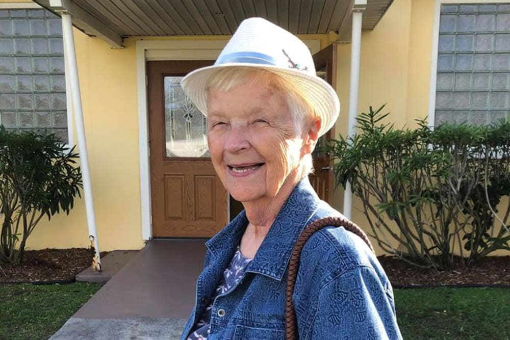 A happy resident out for a stroll at Bayside Terrace in Pinellas Park, Florida