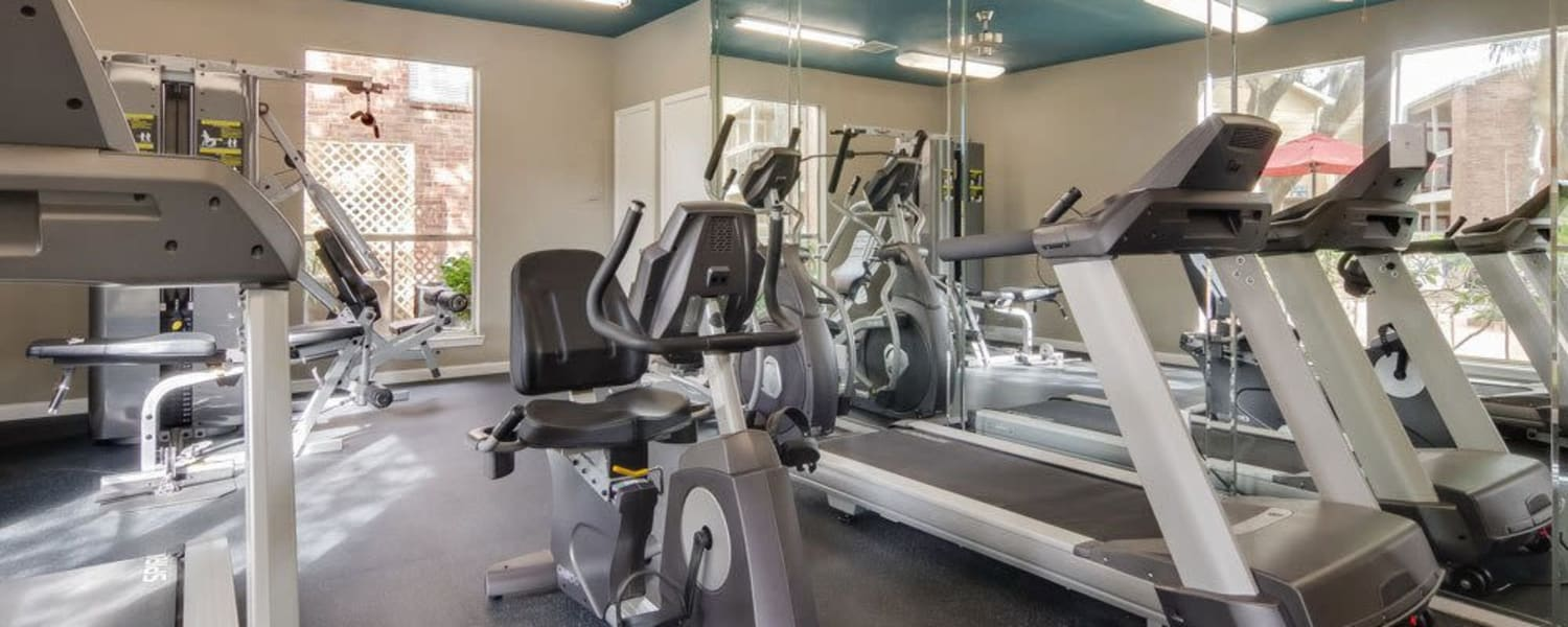 Fitness room at Crystal Bay in Webster, Texas.