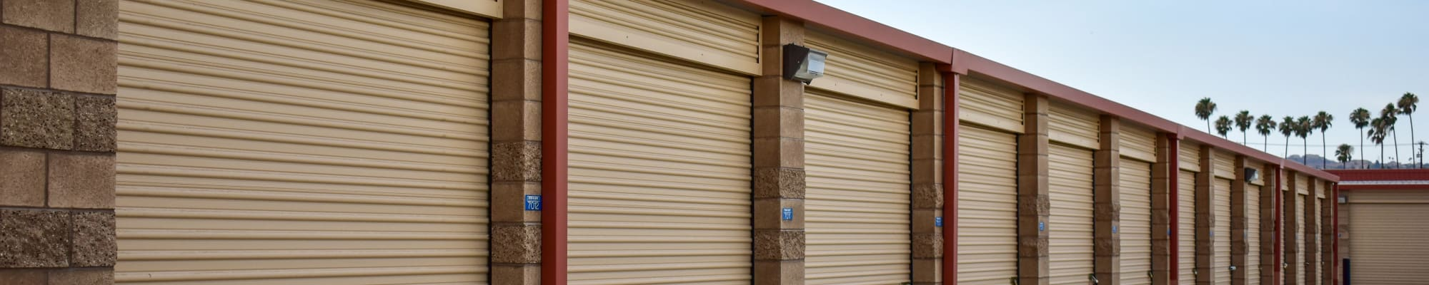 Drive-up storage at STOR-N-LOCK Self Storage in Redlands, California