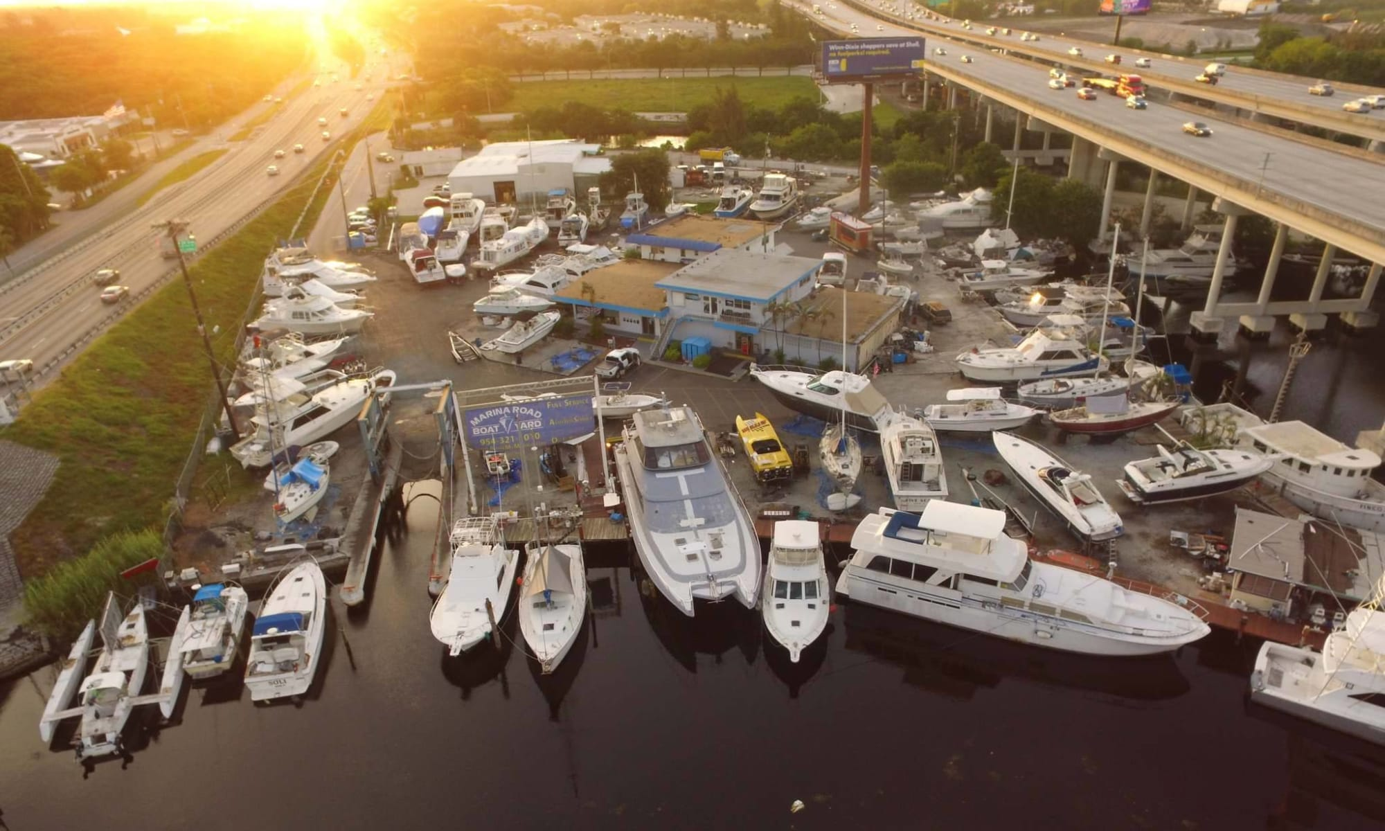 Aerial view of Marina Road Boat Yard
