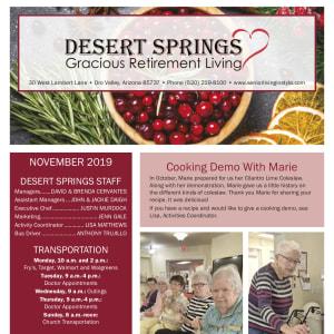 November Desert Springs Gracious Retirement Living newsletter