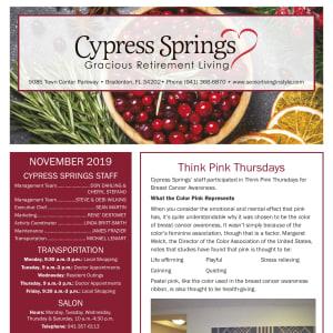 November Cypress Springs Gracious Retirement Living newsletter