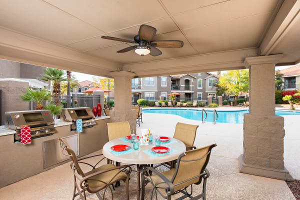 Outdoor BBQ and community space at Villas on Hampton Avenue in Mesa, Arizona