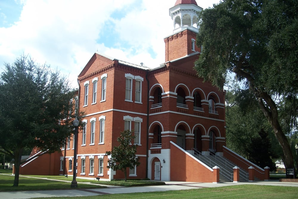 Old courthouse near Merrill Gardens at Solivita Marketplace is in Kissimmee, Florida.