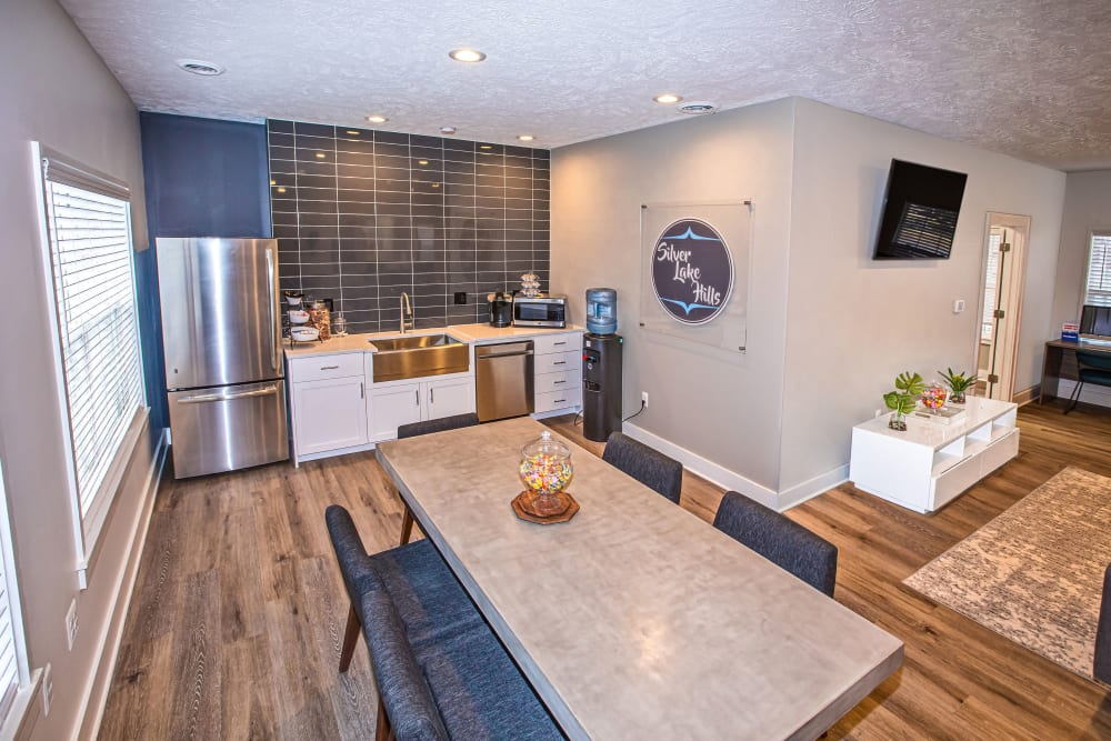 A community kitchen for entertaining guests at Silver Lake Hills in Fenton, Michigan