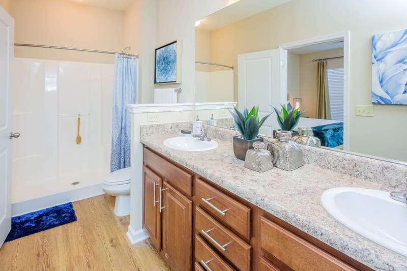 Bathroom with large walk in shower at Arbor Village in Summerville, South Carolina