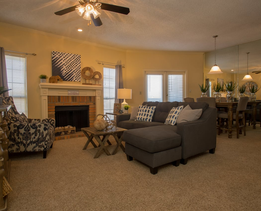 Spacious living room at One Eton Square in Tulsa, Oklahoma