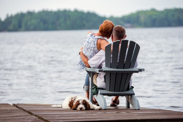 Couple enjoying the lakeside view at Lake Jonathan Flats in Chaska, Minnesota