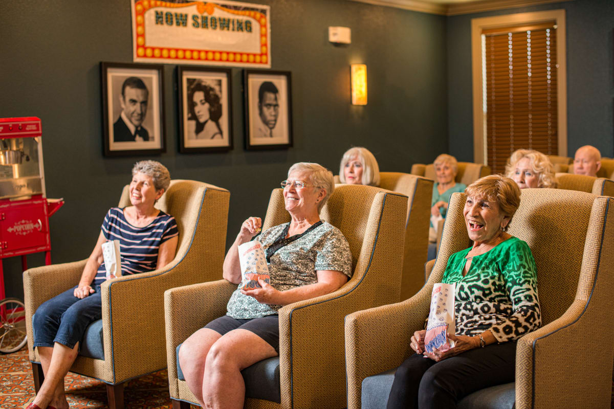 Residents enjoying a movie at Watercrest at Shadow Creek Ranch in Pearland, Texas