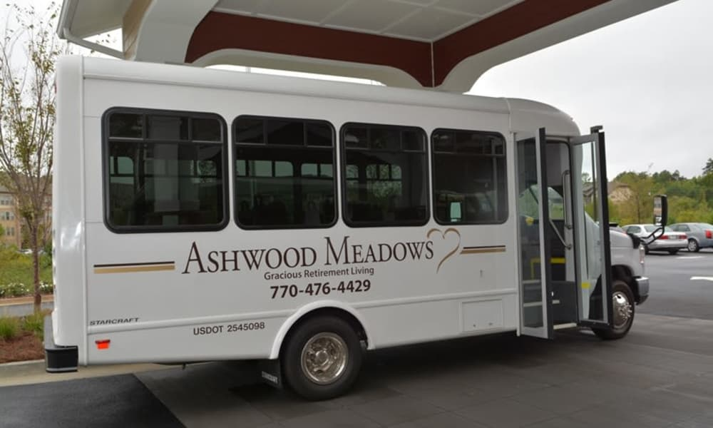 Community bus ready to take residents to town near Ashwood Meadows Gracious Retirement Living in Johns Creek, Georgia