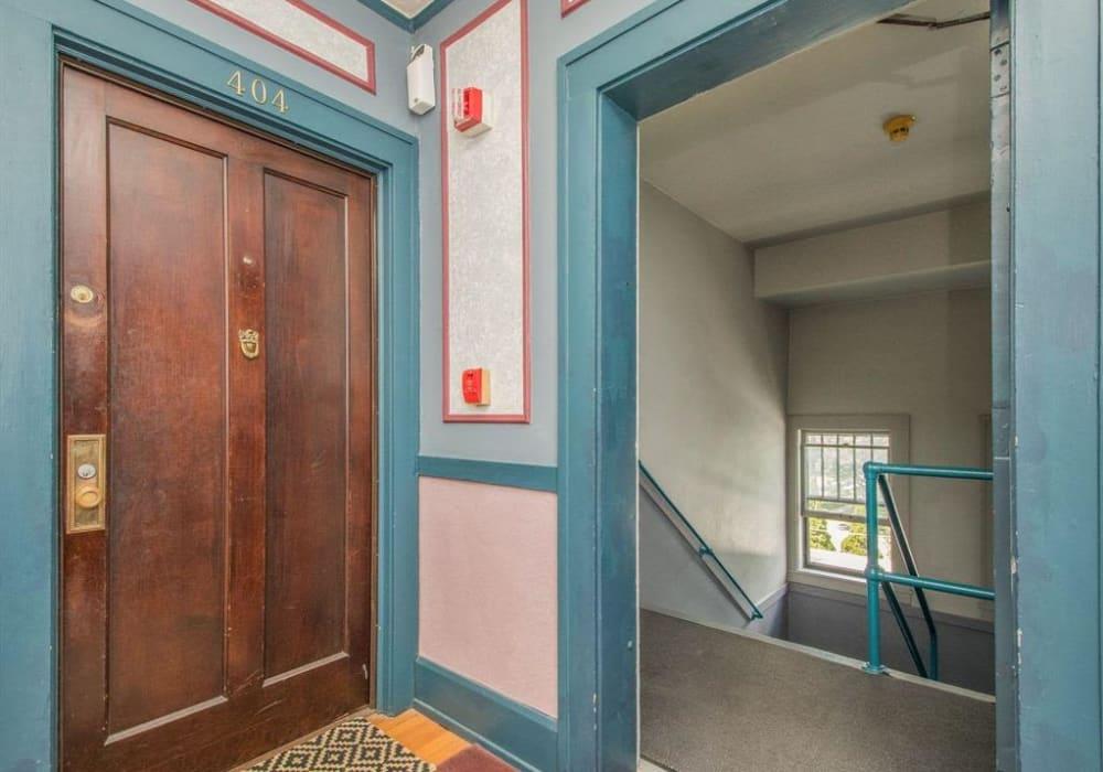 Vintage style entryway at Alta Casa in Des Moines, Iowa