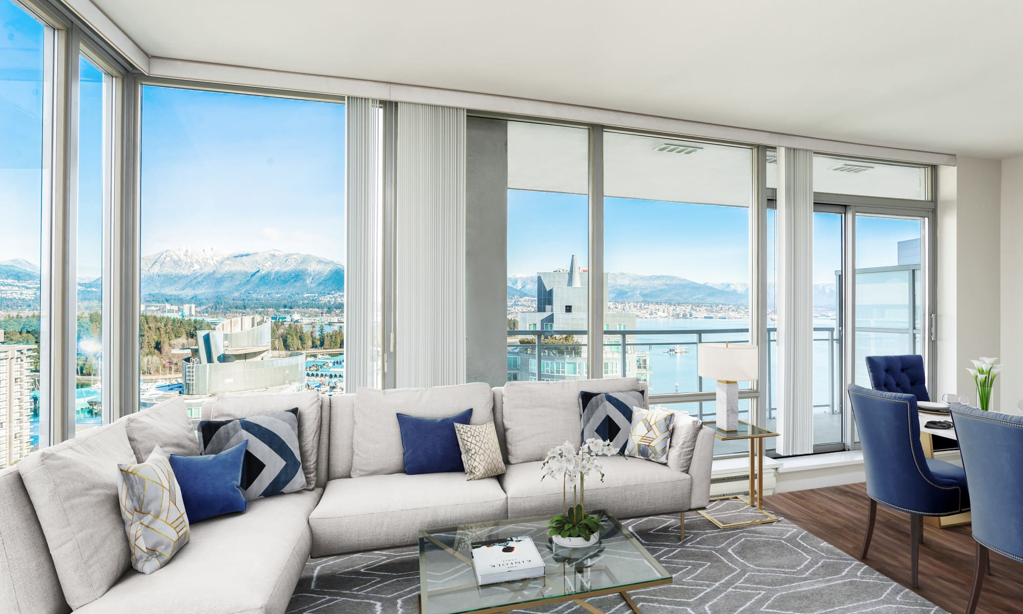 Living room view at Bayview at Coal Harbour in Vancouver