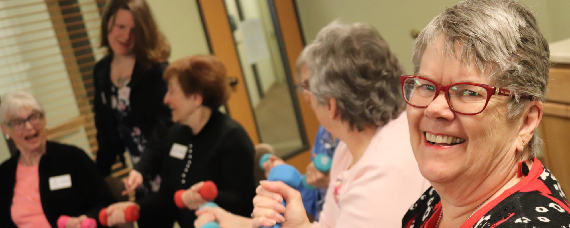 Residents enjoying fitness class at The Springs at Missoula in Missoula, Montana