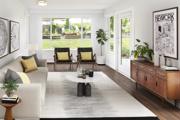 Naturally lit living room at Larchway Gardens in Vancouver, British Columbia