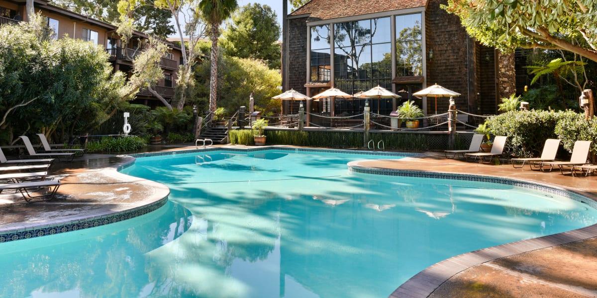 Resort-style swimming pools at Mariners Village in Marina del Rey, California