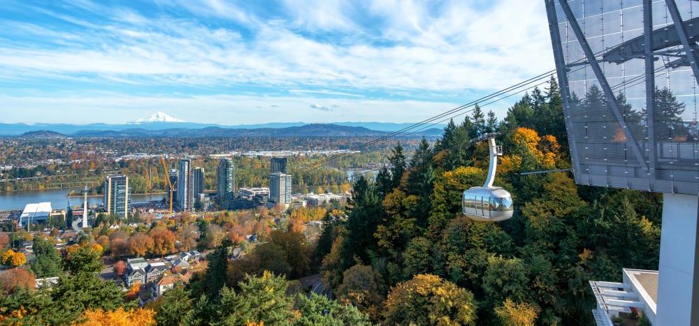 OHSU aerial tram near Marquam Heights in Portland, Oregon