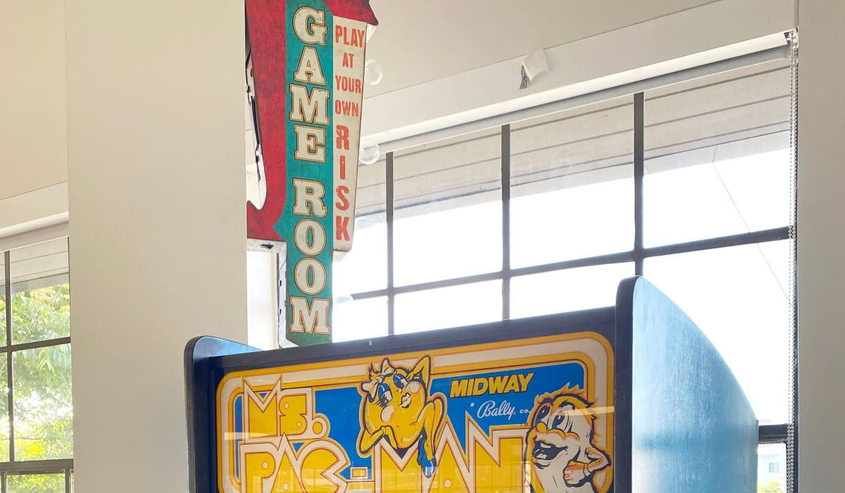 Miss Pac Man in the game room at our corporate offices at E&S Ring Management Corporation in Los Angeles, California