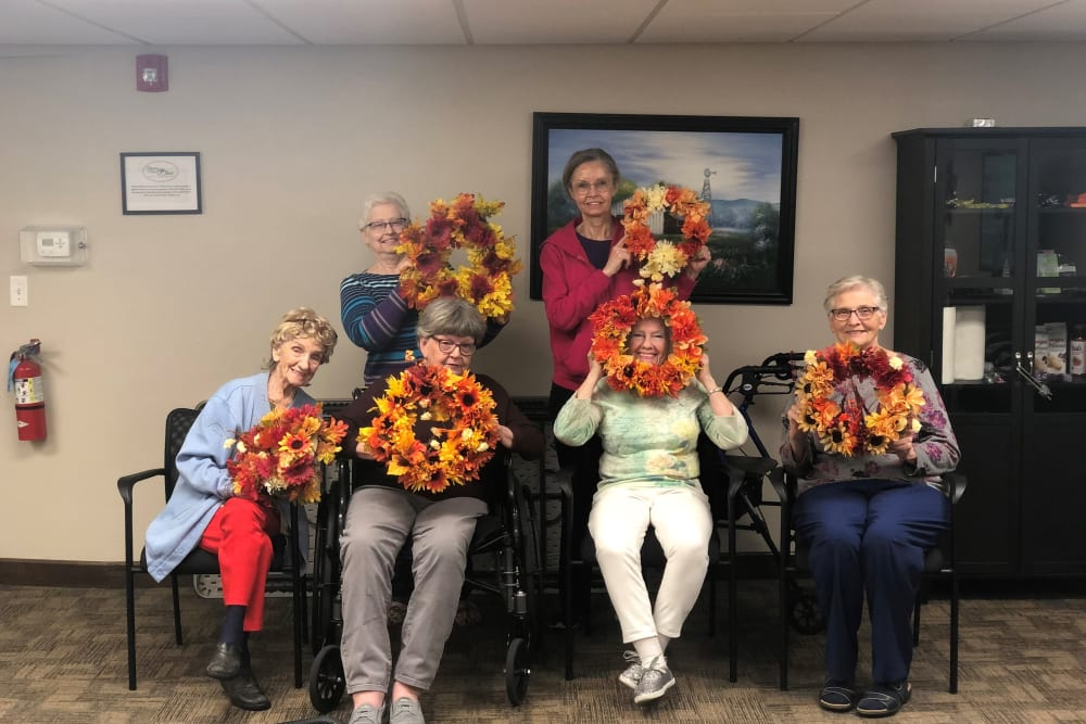 Residents taking a class at Brown Deer Place in Coralville, Iowa