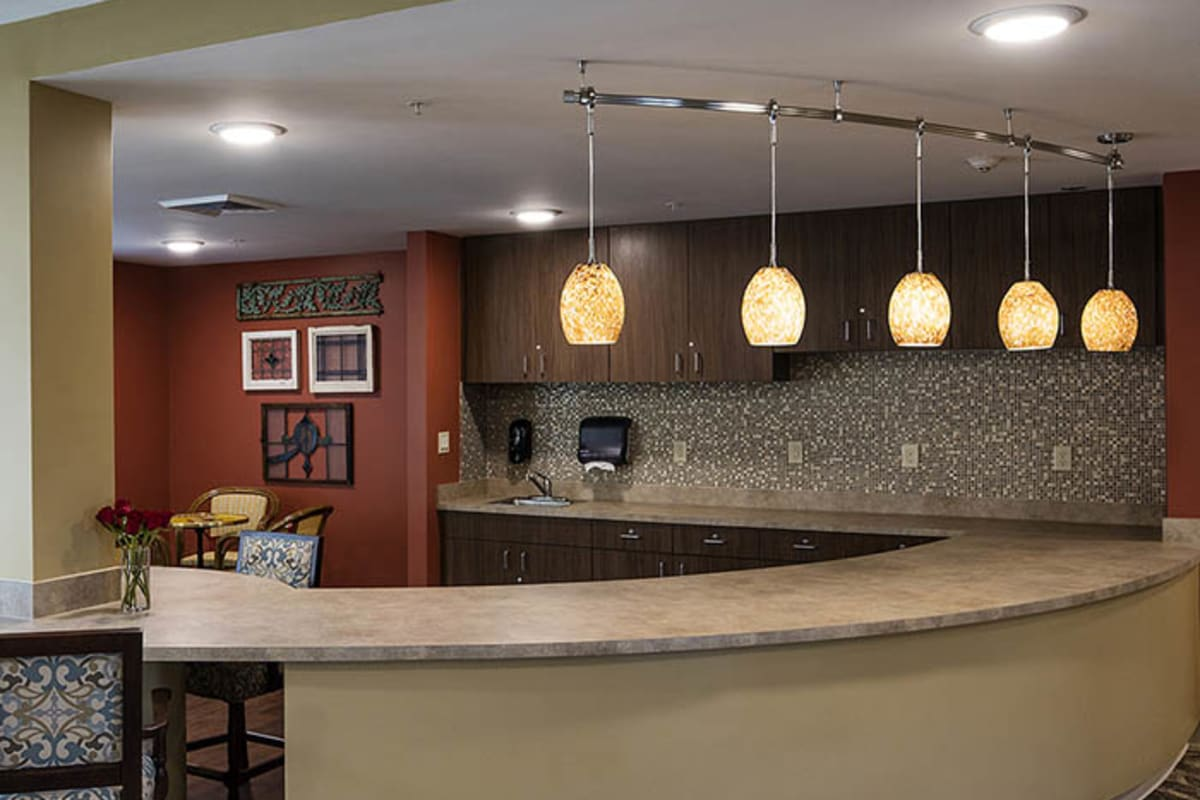 Coffee bar at The Oxford Grand Assisted Living & Memory Care in Kansas City, Missouri