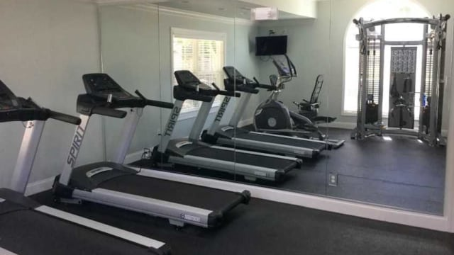 Fitness center at apartments in Greensboro, NC