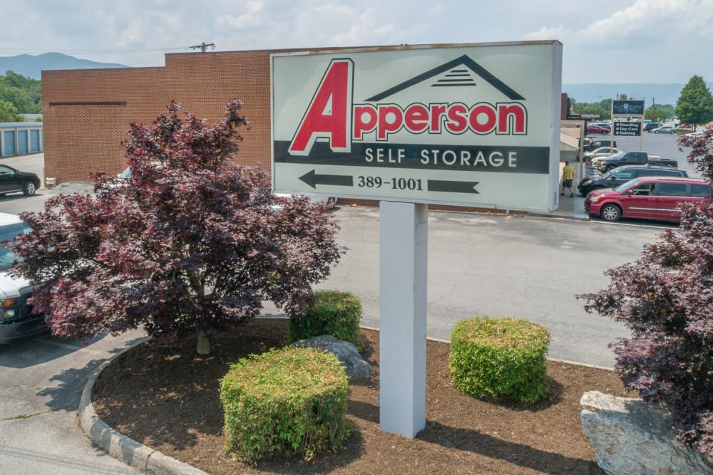 The sign and nice landscaping at Apperson Self Storage in Salem, Virginia