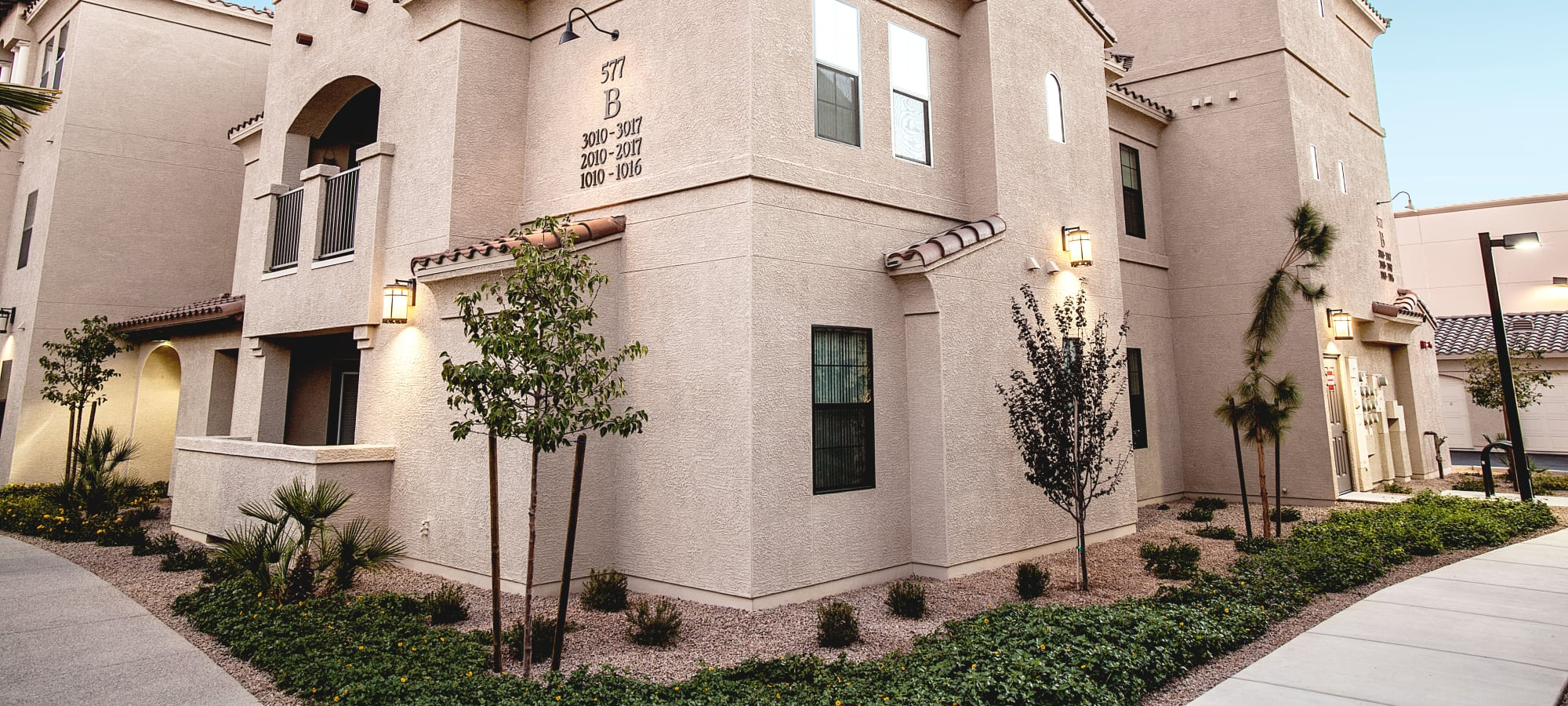 Exterior view of resident buildings at San Marquis in Tempe, Arizona