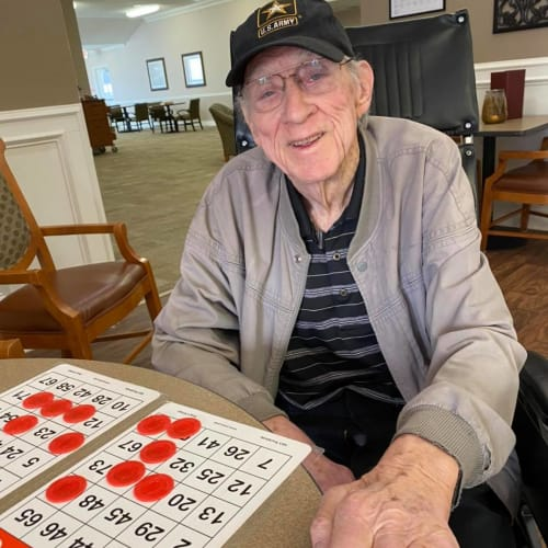 Resident playing Bingo at FountainBrook in Midwest City, Oklahoma