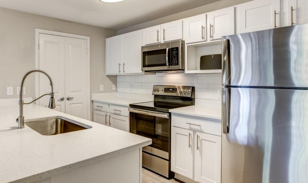 Modern kitchen at apartments in Austin, Texas