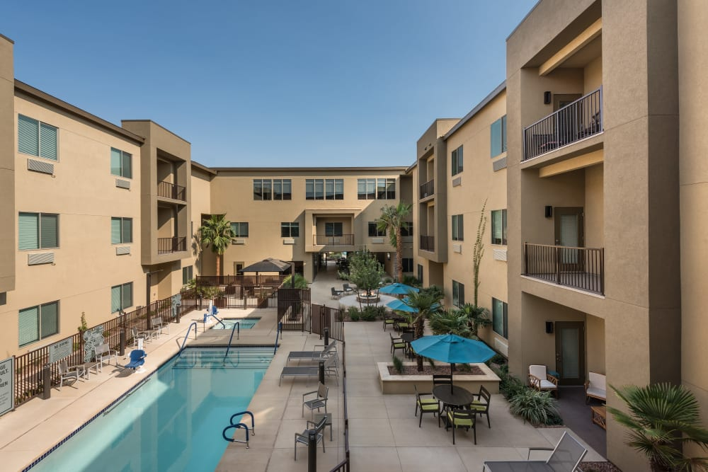 Pool area at Carnegie Heights at Henderson in Henderson, Nevada