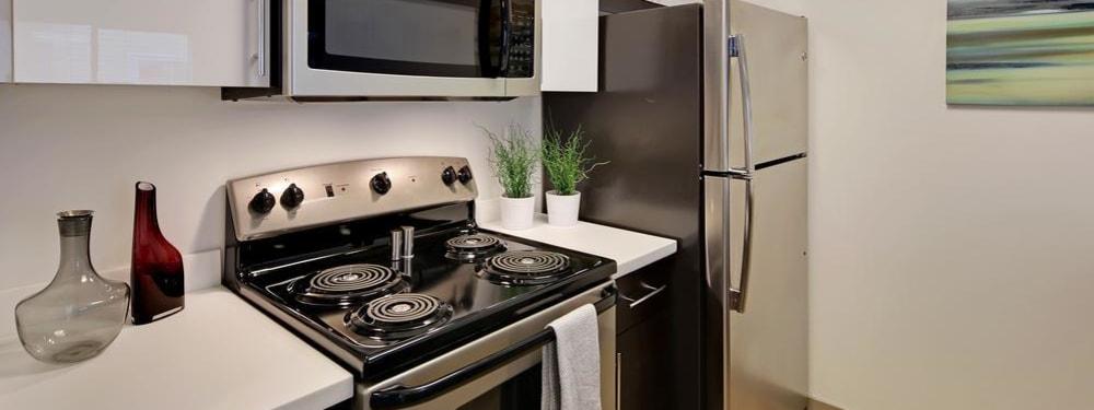 A modern kitchen at from Elan 41 Apartments