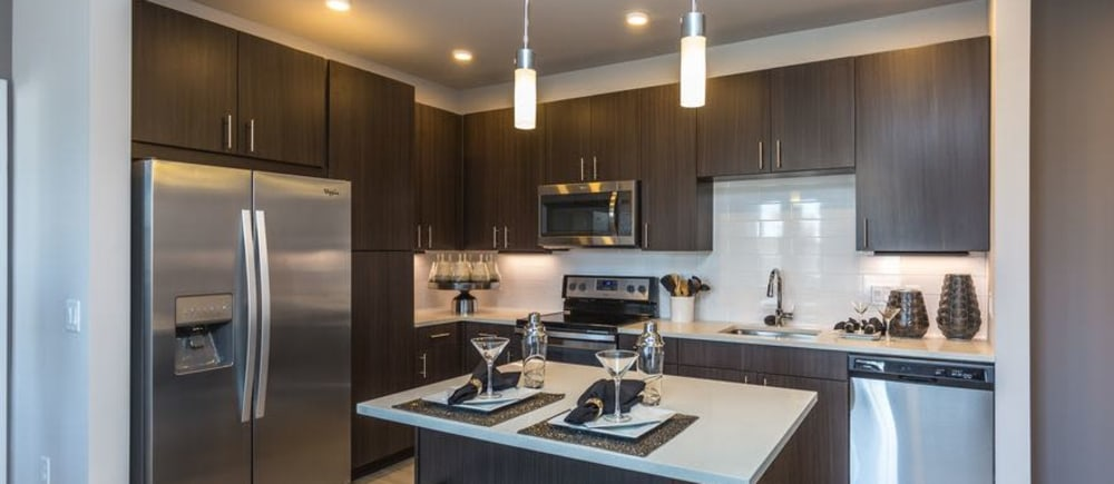 Stainless appliances in a kitchen at Strata Apartments in Denver, Colorado