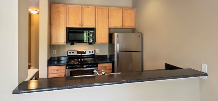 Modern kitchen at Worthington Luxury Apartments