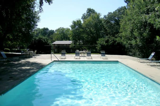The community swimming pool at Carriage House Apartments in Smyrna, Georgia