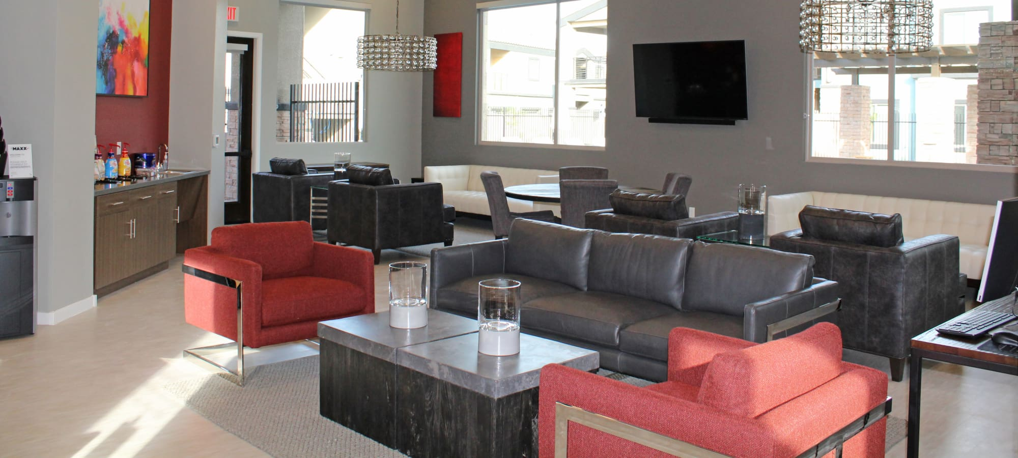 Community lounge at The Maxx 159 in Goodyear, Arizona