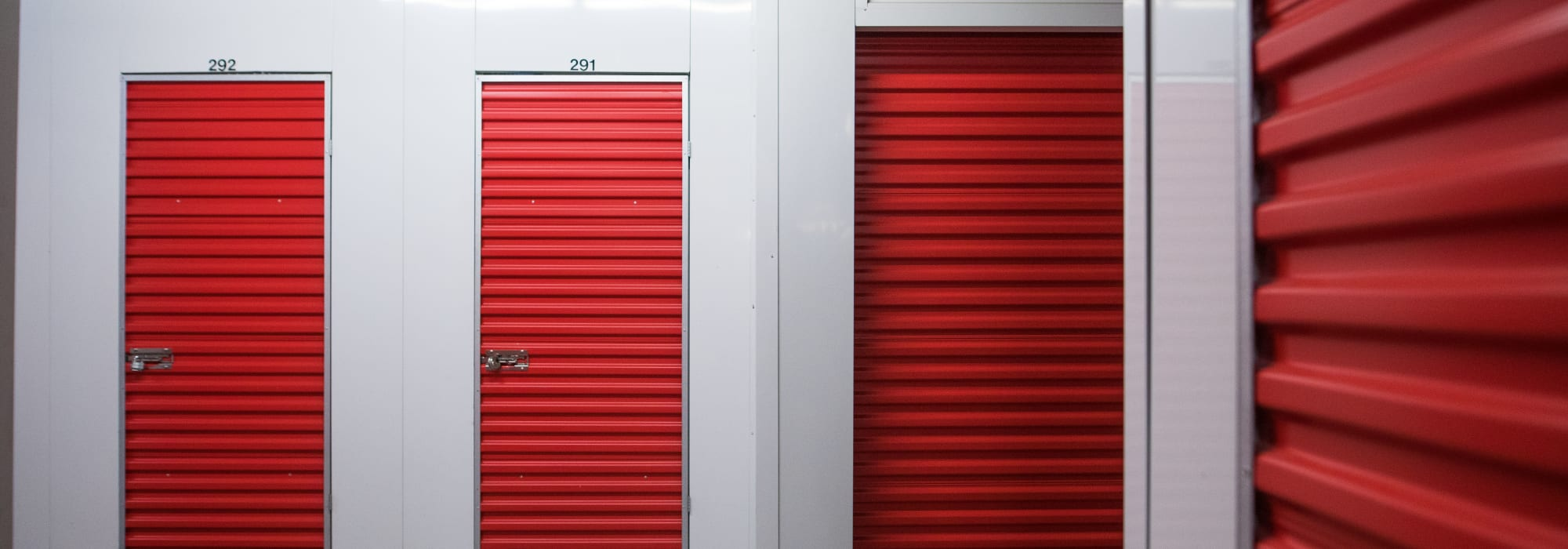 Red storage unit doors at Apple Self Storage - Halifax Downtown in Halifax, Nova Scotia