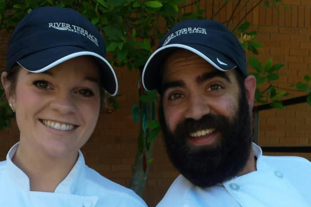 Two chefs posing for a photo at River Terrace Health Campus in Madison, Indiana