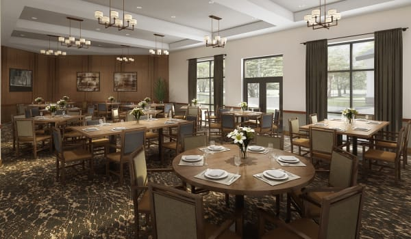 A dining room at Anthology of Novi- Now Open! in Novi, Michigan.