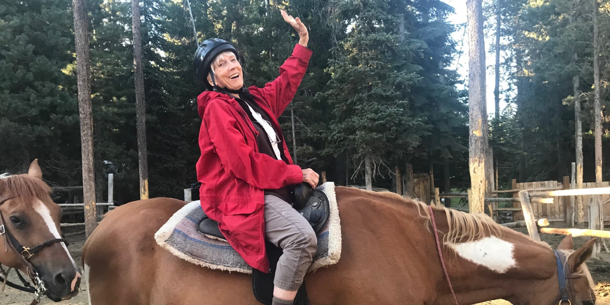 A resident from Camellia Gardens Gracious Retirement Living in Maynard, Massachusetts riding a horse