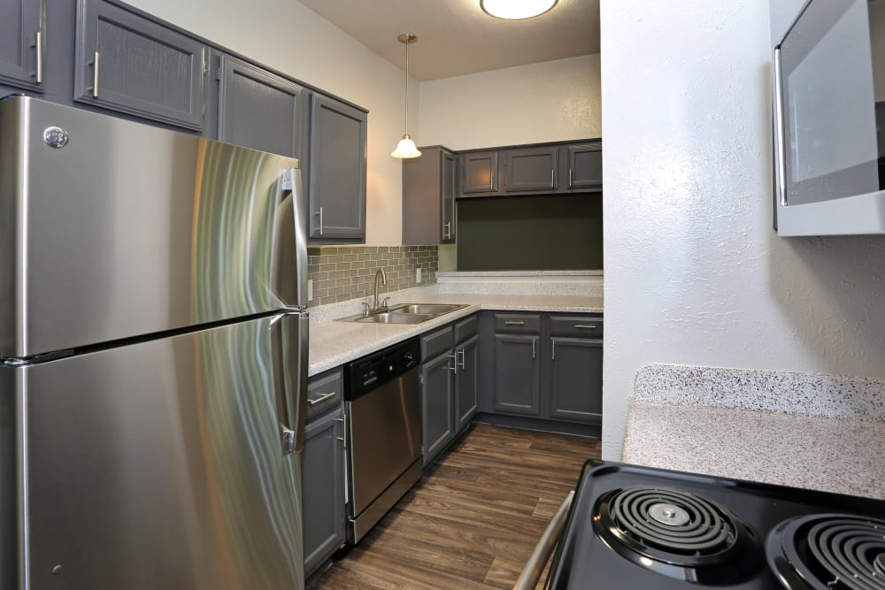 Kitchen with stainless steel appliances at 1303 Main in Duncanville, Texas