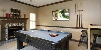 Community game room with pool table at Waterford Place in Greenville, North Carolina