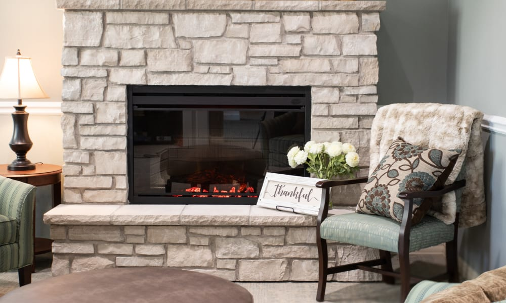 cozy fireside seating at Serenity in East Peoria, Illinois