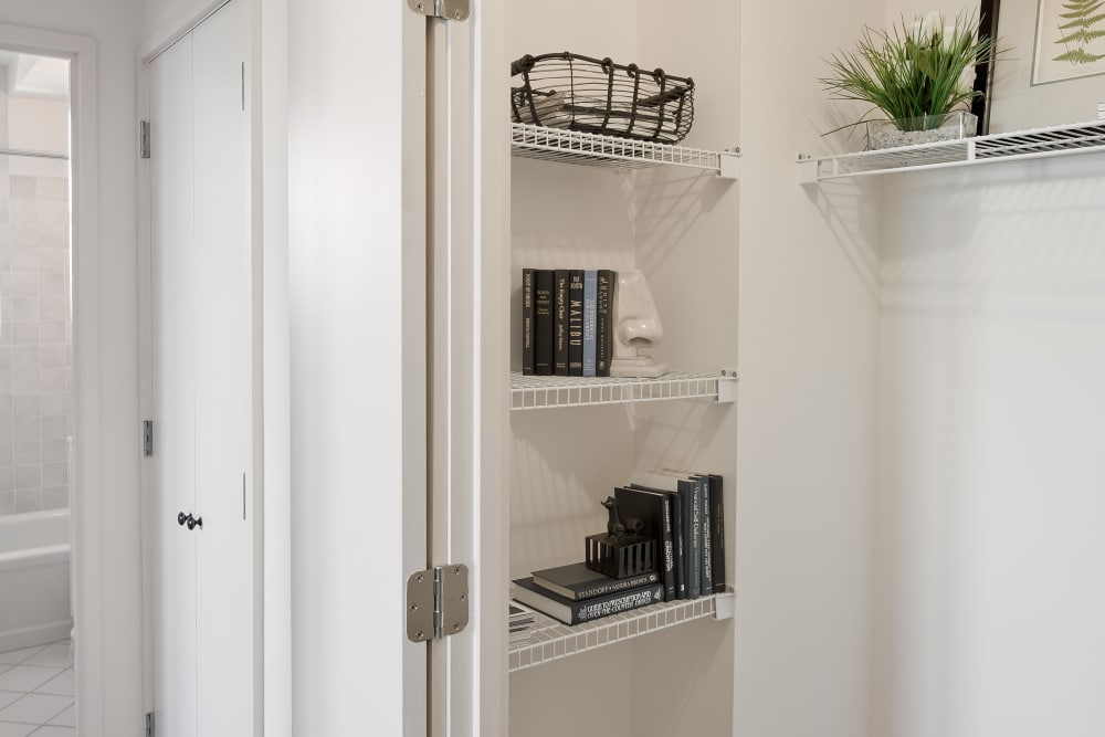 Ample space in walk-in closet at Parkside Place in Cambridge, Massachusetts