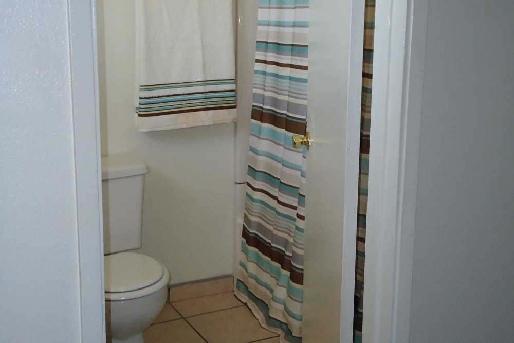 Bathroom at Olympus Court Apartments in Bakersfield, California