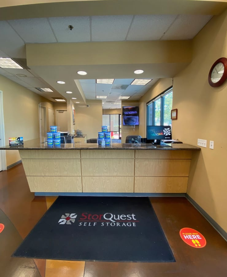 Interior of the leasing office at StorQuest Self Storage in Carson, California