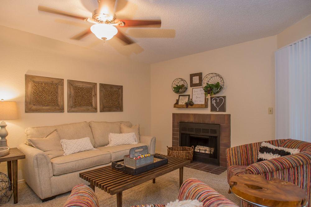 Bright living room at Woodscape Apartments in Oklahoma City, Oklahoma