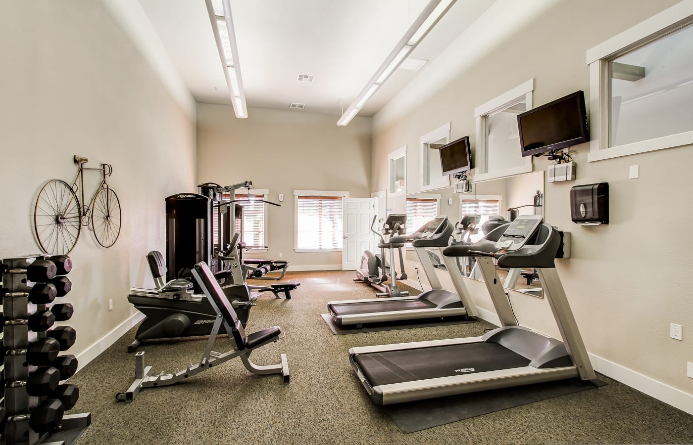 State of the art gym in the clubhouse at Brooks Landing in Modesto, CA