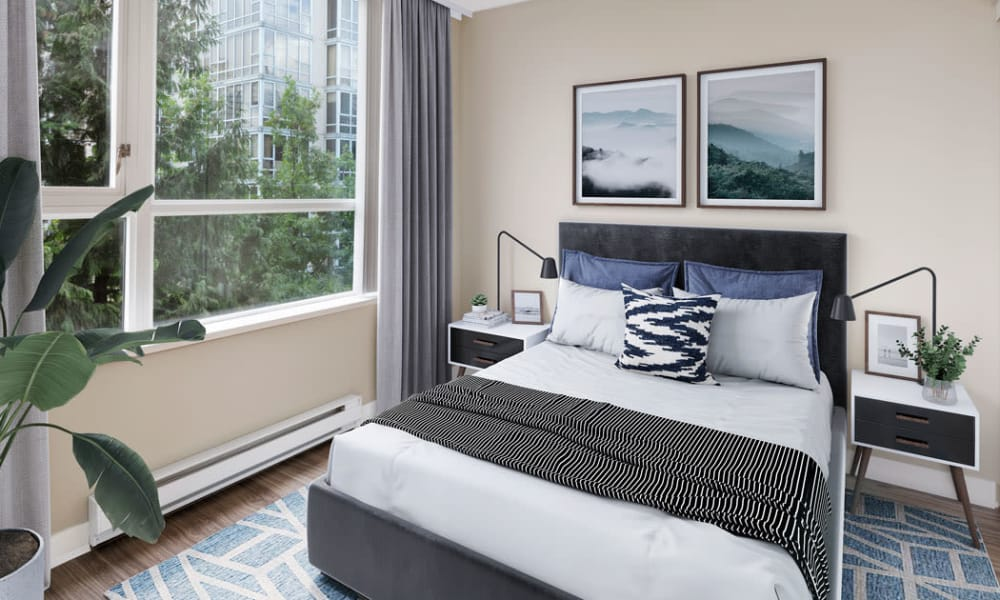 Beautiful bedroom at Yaletown 939 in Vancouver, British Columbia