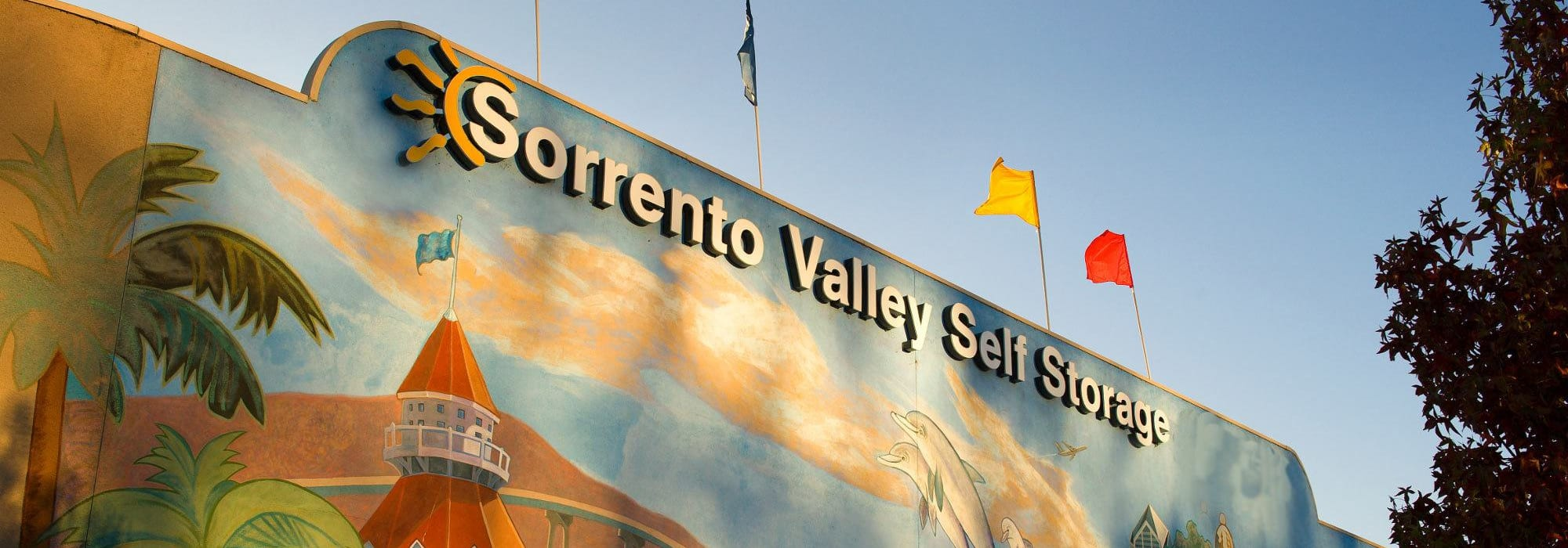 Branding on the exterior of Sorrento Valley Self Storage in San Diego, California