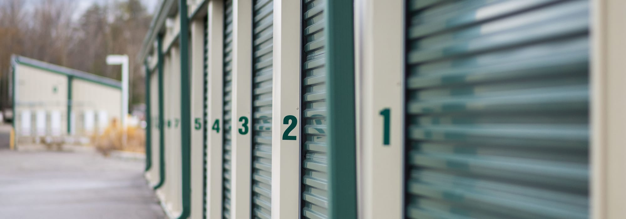 Numbered storage units at Apple Self Storage - Aurora in Aurora, Ontario