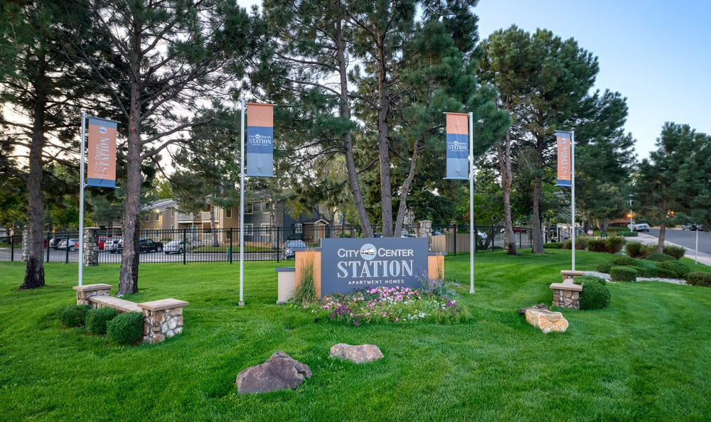 Monument sign at City Center Station Apartments in Aurora, Colorado